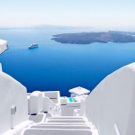 White stairs with cruise ship