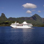 Cruise ship in tropical paradise