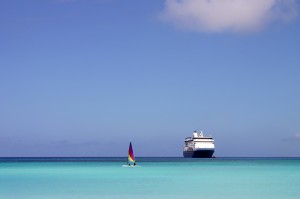 Cruise ship and sail boat