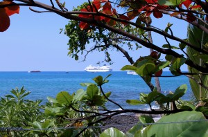 Cruise ship off the beach in Hawaii