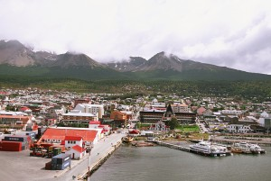 Panoramic view of harbor, Ushuaia, Argentina