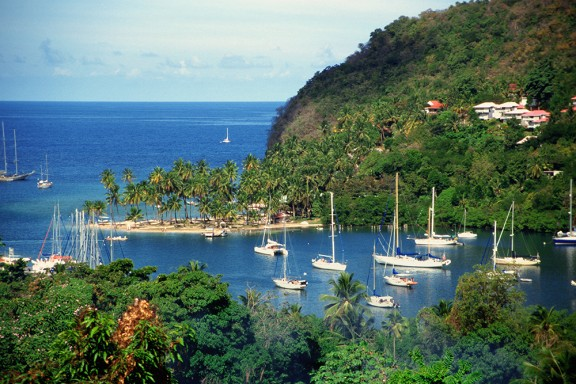 View of sailboats on Marigot Bay, Saint Lucia, Caribbean