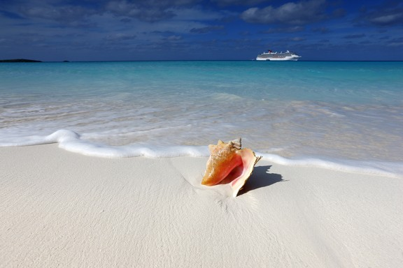 Beach with cruise ship